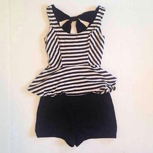 Striped Peplum Top with Back Cut Outs